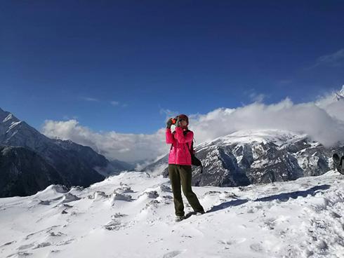 エベレストを撮る私