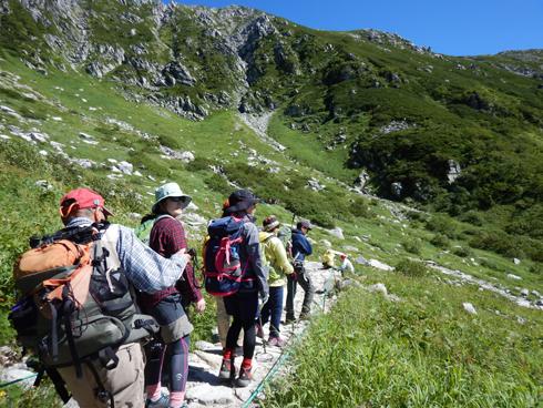 南アルプスの山並みを見ながら散策