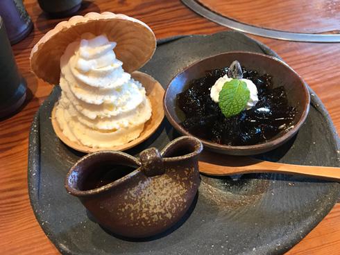 黒豆コーヒーゼリーとソフトクリームのセット